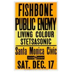 Public Enemy Original Vintage Concert Poster, Santa Monica, Los Angeles, 1988