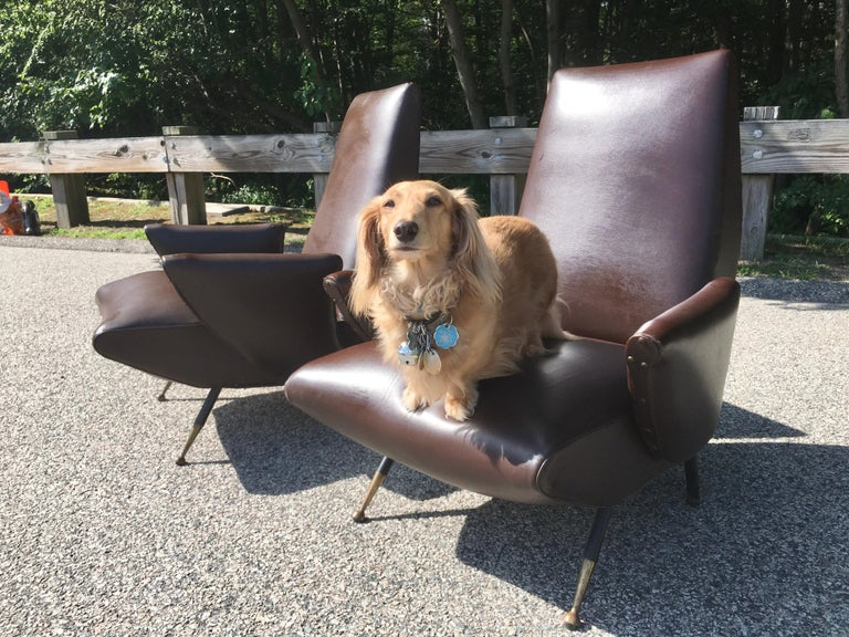 Published Pair of Nino Zoncada Lounge Chairs For Sale 1