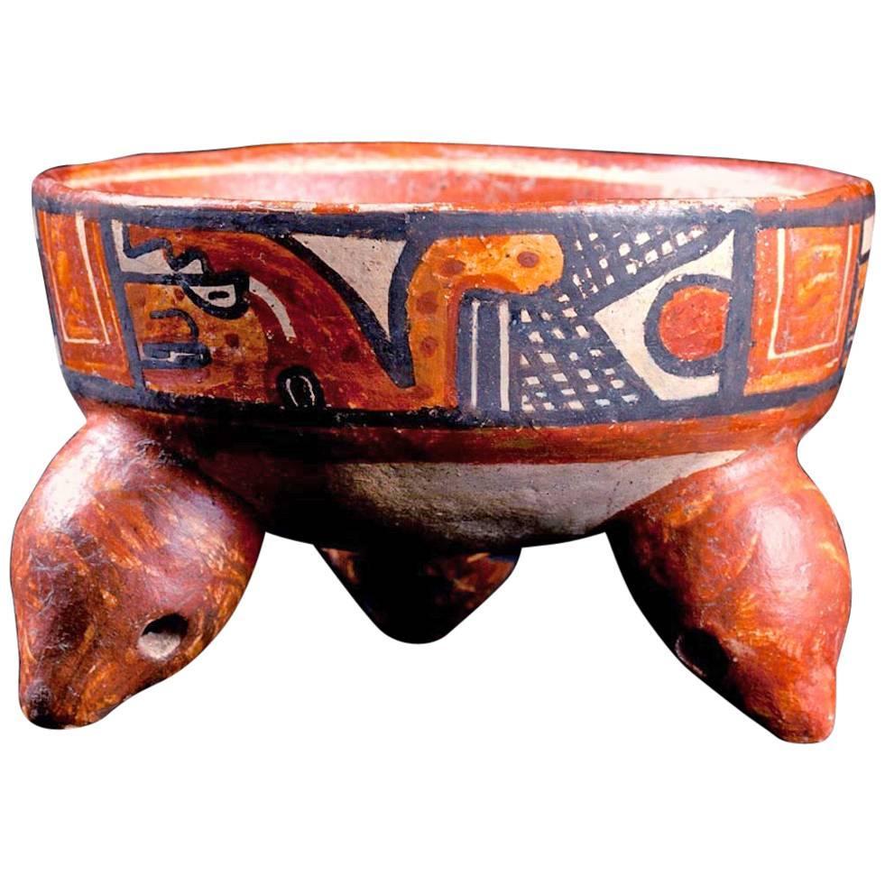 Published Papagayo Polychromed Rattling Tripod Bowl, Guanacaste, Costa Rica