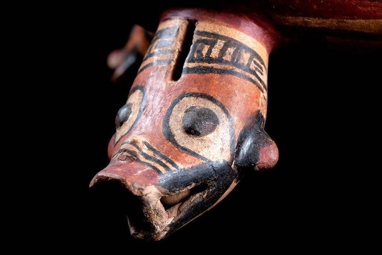 18th Century and Earlier Published Polychromed Rattling Tripod Bowl - Guanacaste, Costa Rica (600-900 AD) For Sale