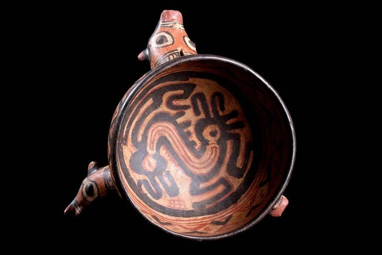Published Polychromed Rattling Tripod Bowl - Guanacaste, Costa Rica (600-900 AD) For Sale 1