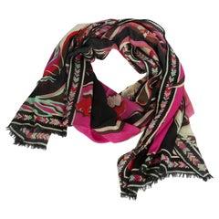 Pucci Black & Fuchsia Wool/Silk Scarf