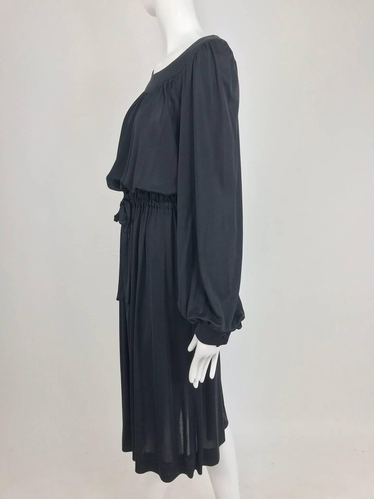 Pucci Black silk jersey draw string waist dress 1960s For Sale 8