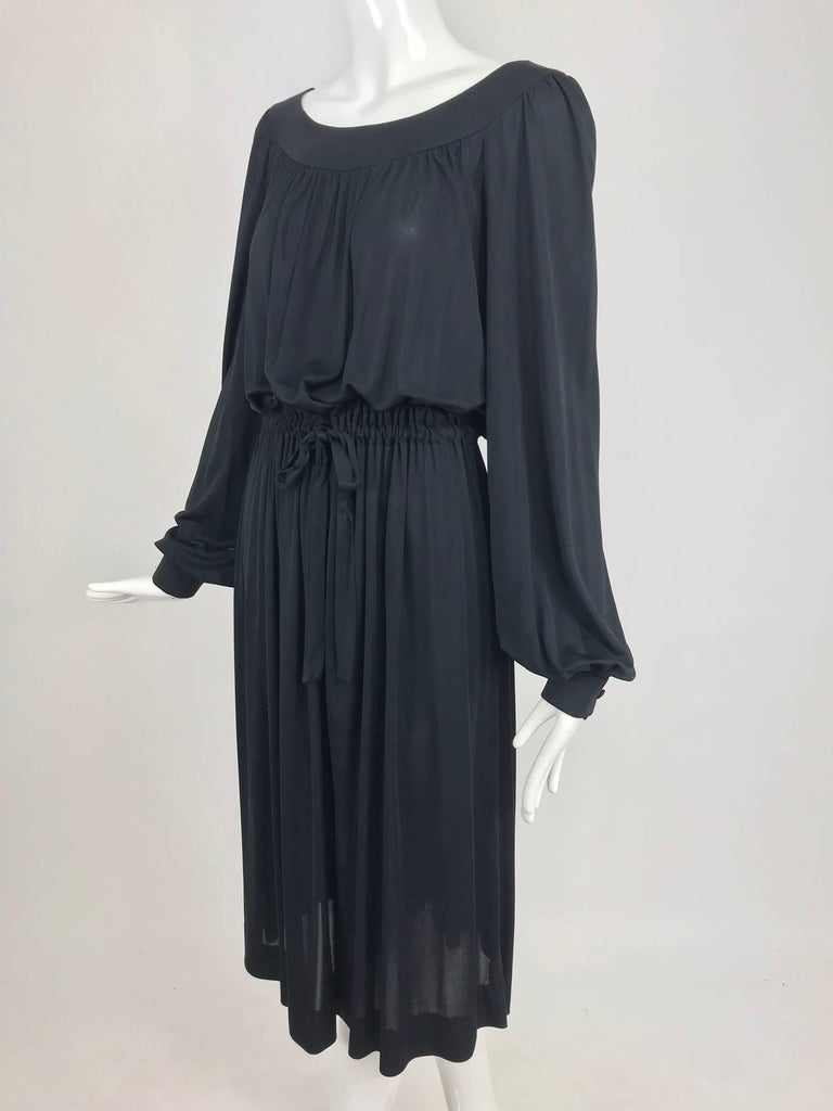 Pucci Black silk jersey draw string waist dress 1960s For Sale 9