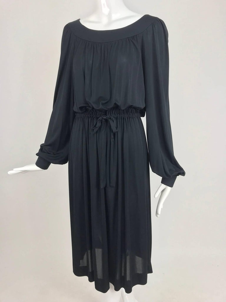 Pucci Black silk jersey draw string waist dress 1960s For Sale 10