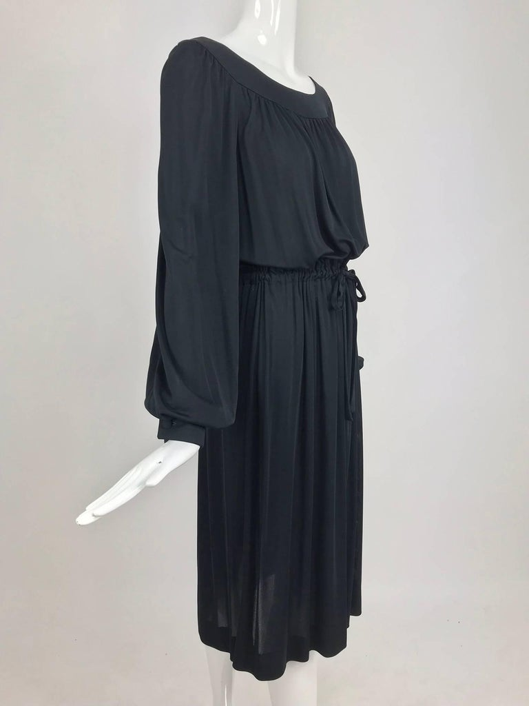 Pucci Black silk jersey draw string waist dress 1960s In Excellent Condition For Sale In West Palm Beach, FL