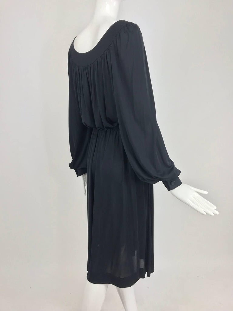 Women's Pucci Black silk jersey draw string waist dress 1960s For Sale