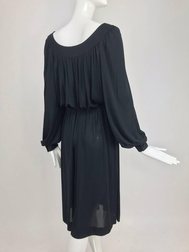 Pucci Black silk jersey draw string waist dress 1960s For Sale 1