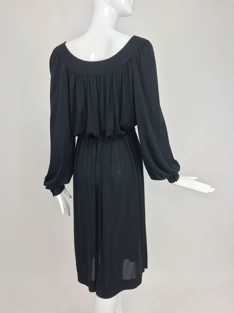 Pucci Black silk jersey draw string waist dress 1960s For Sale 2