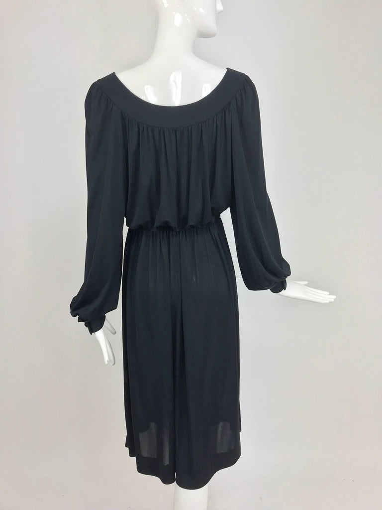 Pucci Black silk jersey draw string waist dress 1960s For Sale 3