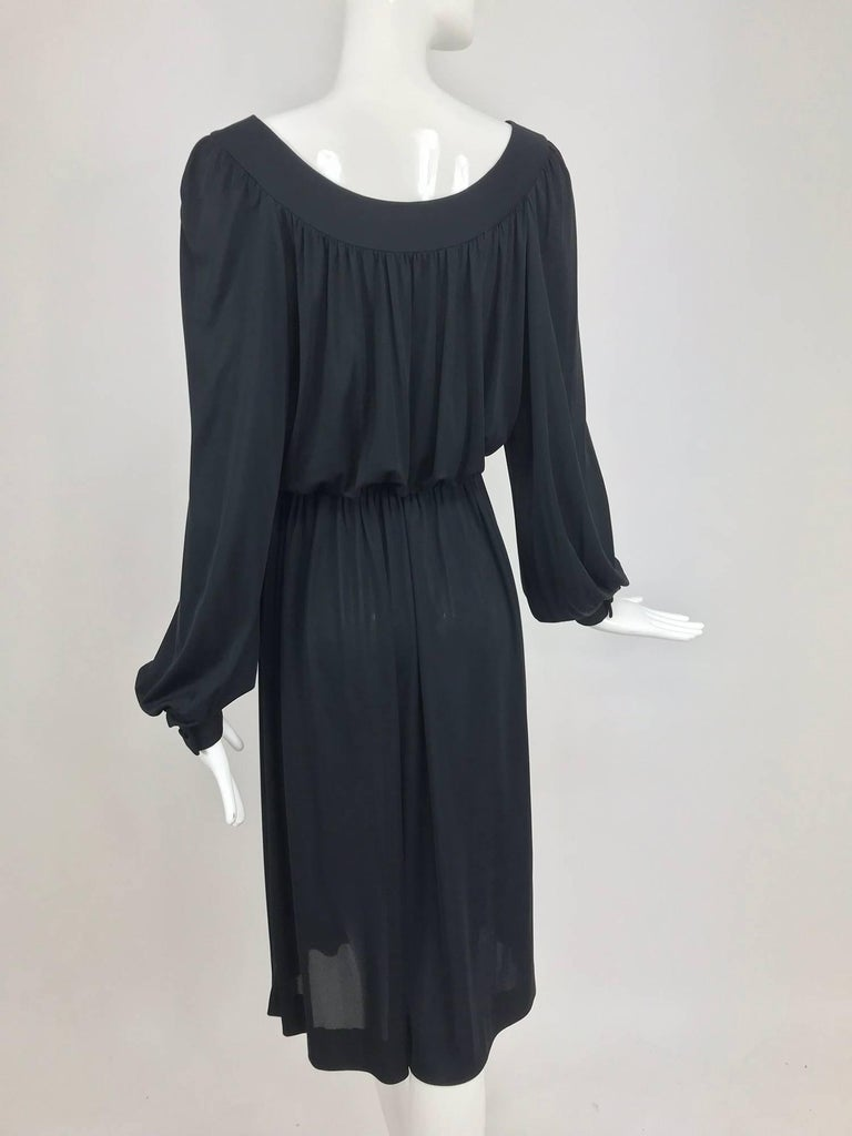 Pucci Black silk jersey draw string waist dress 1960s For Sale 4