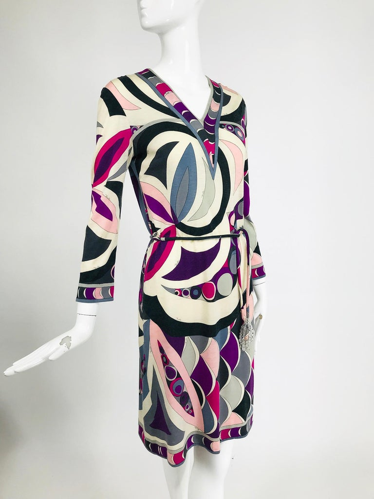 Pucci Cashmere & Silk Fine Knit Dress & Belt 1960s For Sale 5