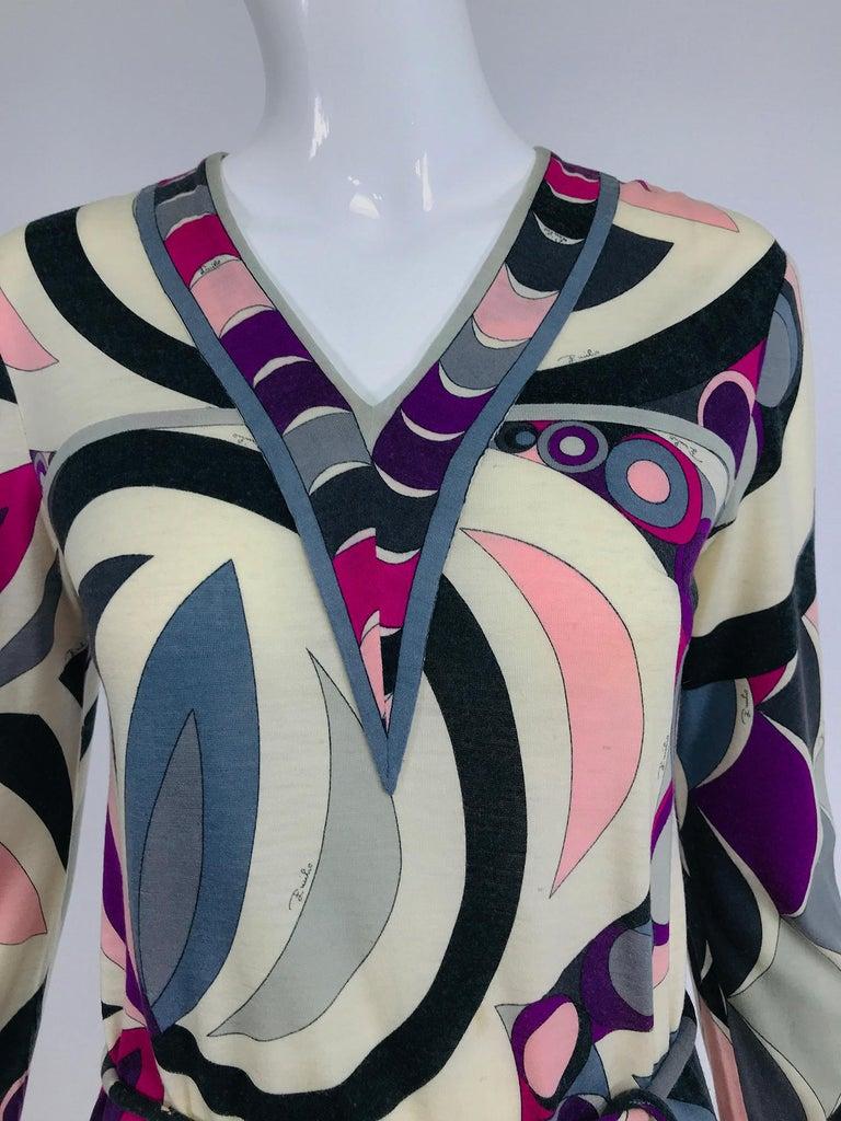Pucci Cashmere & Silk Fine Knit Dress & Belt 1960s For Sale 6