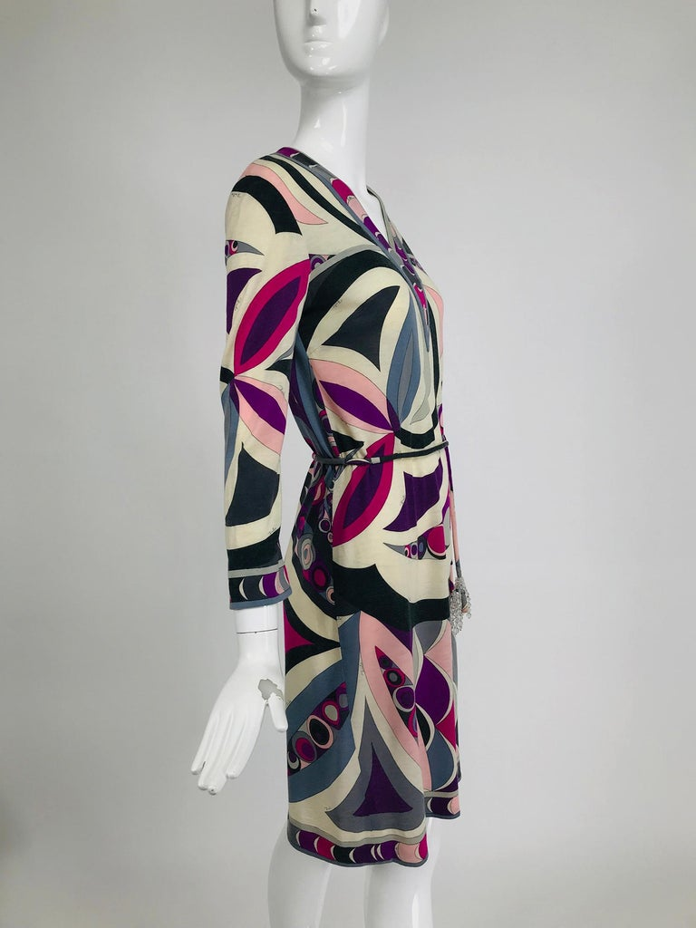 Pucci Cashmere & Silk Fine Knit Dress & Belt 1960s For Sale 4