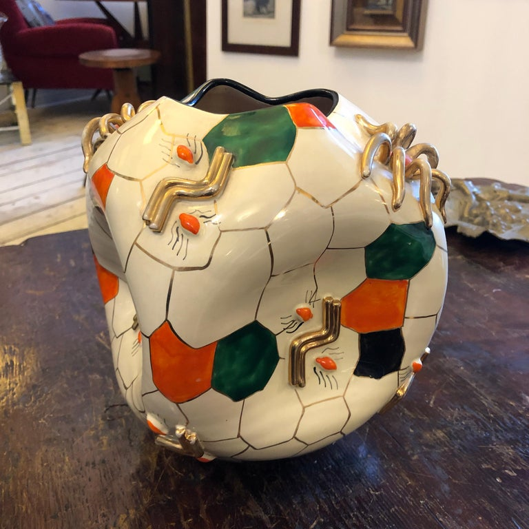 Hand-Painted Pucci Iconic Cubic Spider Ceramic Vase Made in Italy in 1952 For Sale