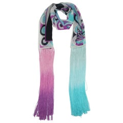 Pucci Psychedelic Silk Chiffon Scarf With Fringe