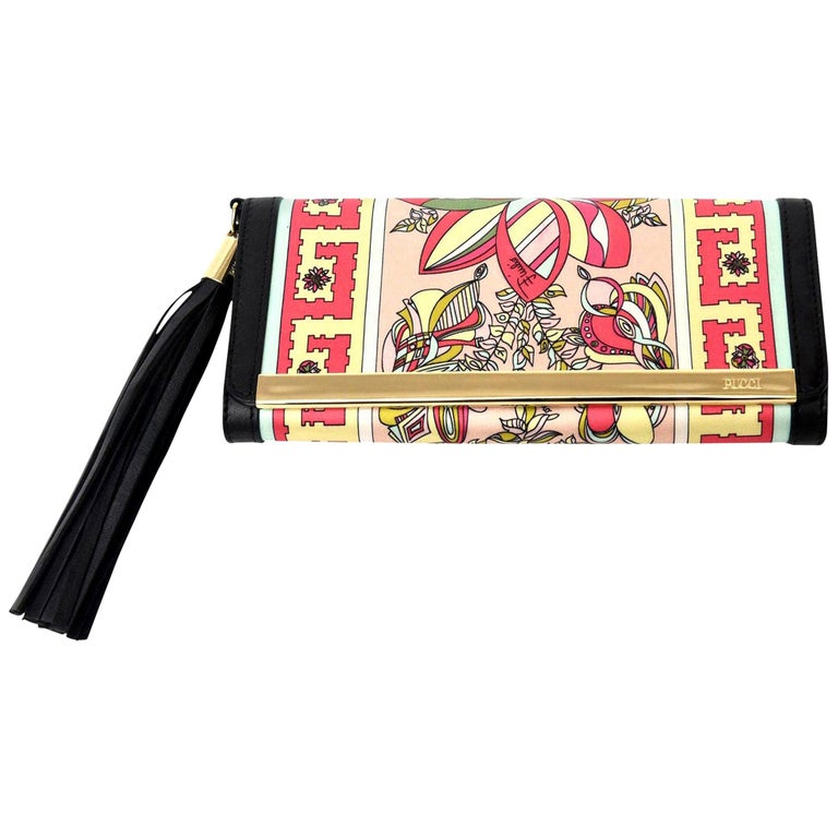 Pucci Silk and Leather Small Clutch And or Wallet For Sale