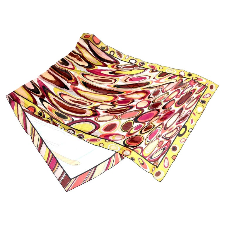 Pucci Silk Magenta, Pink, Chartreuse, Brown, Black, Coral Oblong Scarf Vintage For Sale