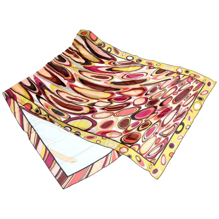 Pucci Silk Oblong Scarf Vintage For Sale