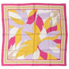 Pucci Silk Twill Leaves Print Pink Scarf