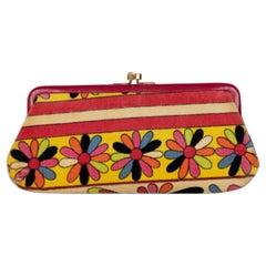 Pucci Velvet Floral Leather Trim Clutch, 1960s