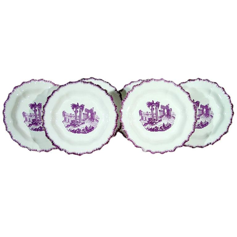 Puce-Colored Transfer Creamware Shell-Edge Neale and Co Set of Ten Plates