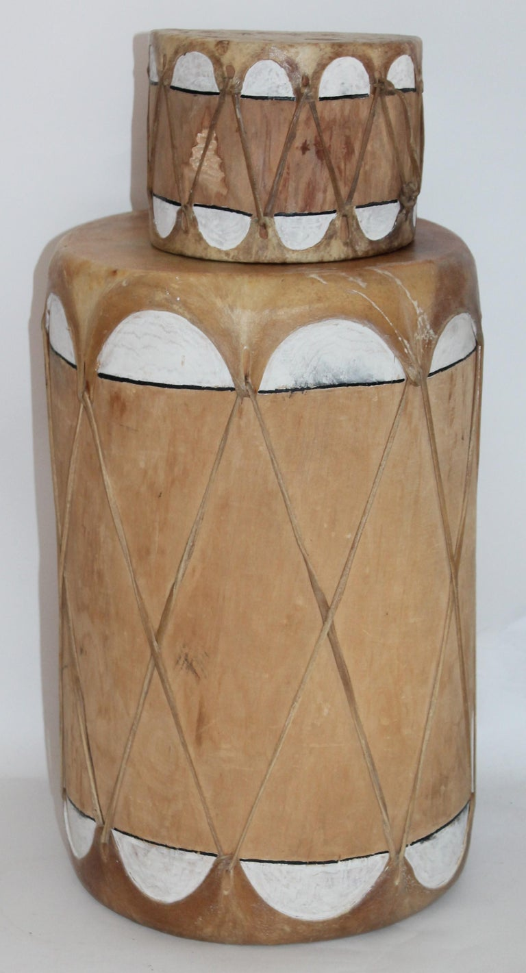 Pueblo drum set of matching drums.