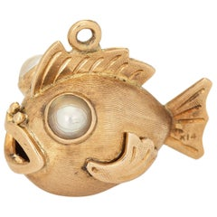 Puffer Fish Charm Vintage 14k Yellow Gold Pendant Fine Estate Ocean Jewelry