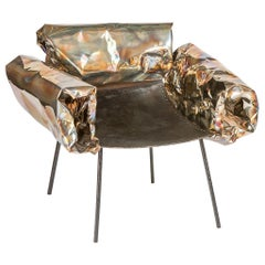 Puffy Chair by Anadora Lupo, Handmade Stainless Steel Armchair / Artwork