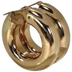 Wide Gold Hoop Earrings  1   1/4 Inch Diameter by 5/16 Inch Thick