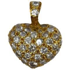 Puffy Heart 18 Karat Gold Diamond Charm Pendant