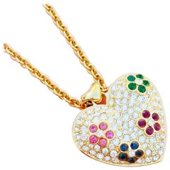 Puffy Rhinestone Heart Pendant Necklace with Floral Motif By Nolan Miller, 1980s