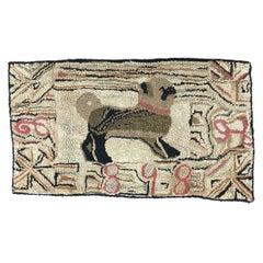 Pug Hooked Rug, American, Dated 1898