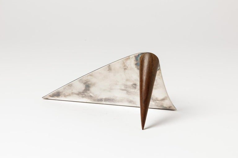 Puiforcat  Elegant letter holder in silver and wood by Puiforcat  20th century desk accessories, circa 1970  Original good conditions  Signed under the base  Measures: Height 10cm, large 20cm, depth 12cm.