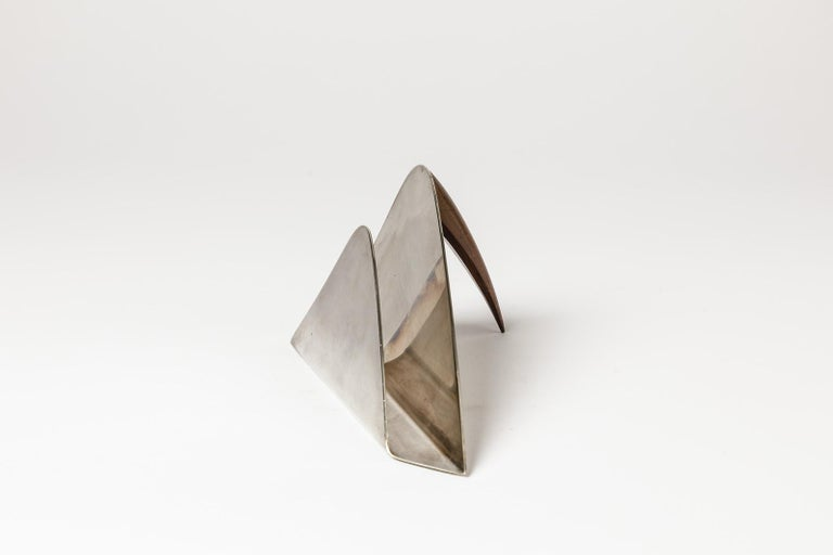 Mid-Century Modern Puiforcat 20th Century Desk Accessories Letter Holder Silver and Wood For Sale