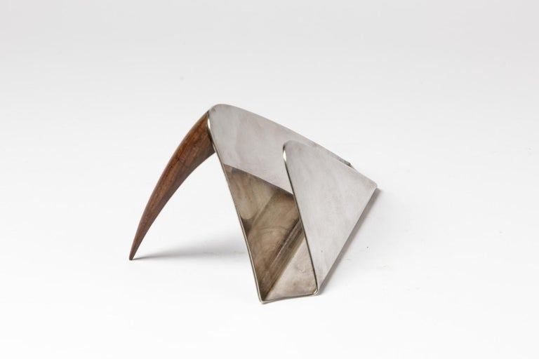 Puiforcat 20th Century Desk Accessories Letter Holder Silver and Wood In Good Condition For Sale In Neuilly-en- sancerre, FR