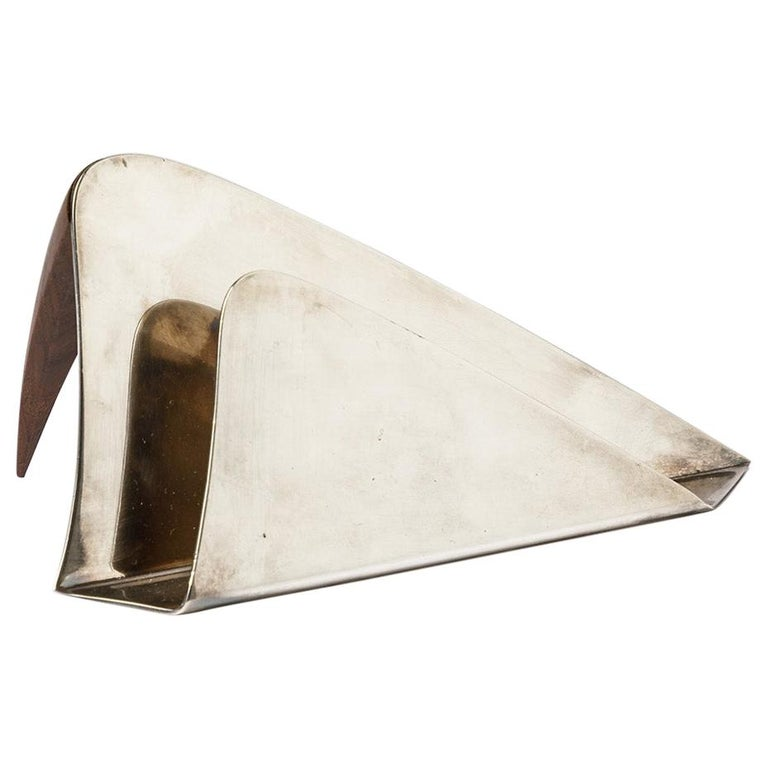 Puiforcat 20th Century Desk Accessories Letter Holder Silver and Wood For Sale