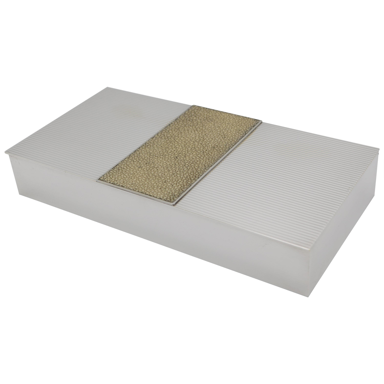 Puiforcat Art Deco Silver Plate and Shagreen Box