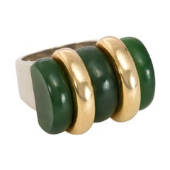 Puiforcat, France Art Deco Nephrite Ring in Sterling Silver and 18 Karat Gold
