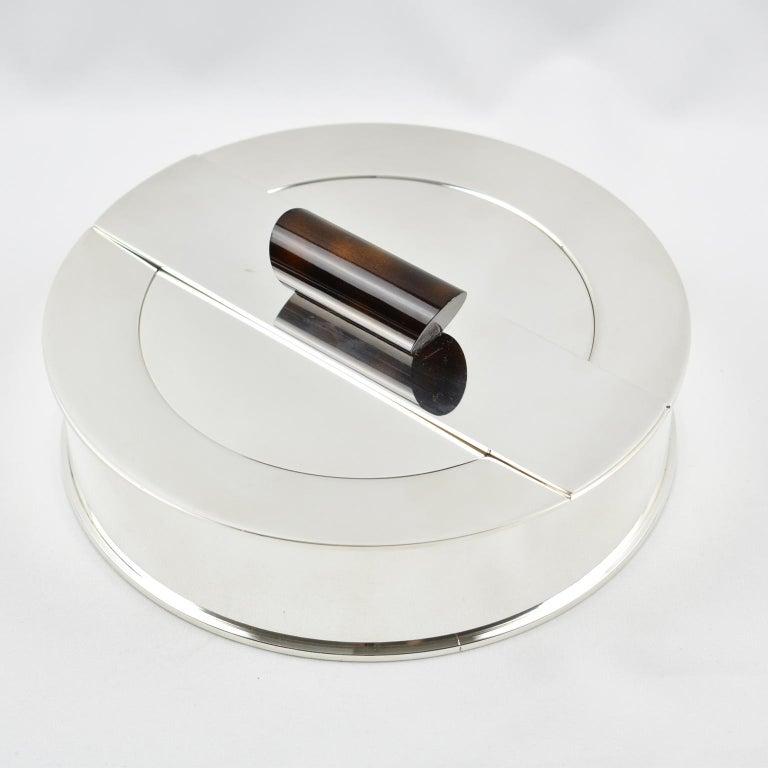Puiforcat France Large Art Deco Silver Plate Decorative Box with Enamel Handle For Sale 3