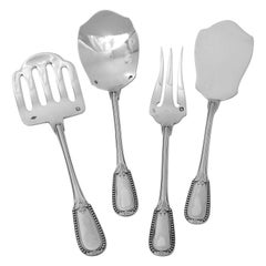 Puiforcat French All Sterling Silver Hors D'oeuvre Dessert 4-Piece, Neoclassical