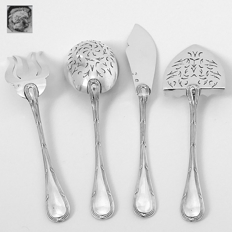 Late 19th Century Puiforcat French All Sterling Silver Hors D'oeuvre Dessert, Box, Neoclassical For Sale