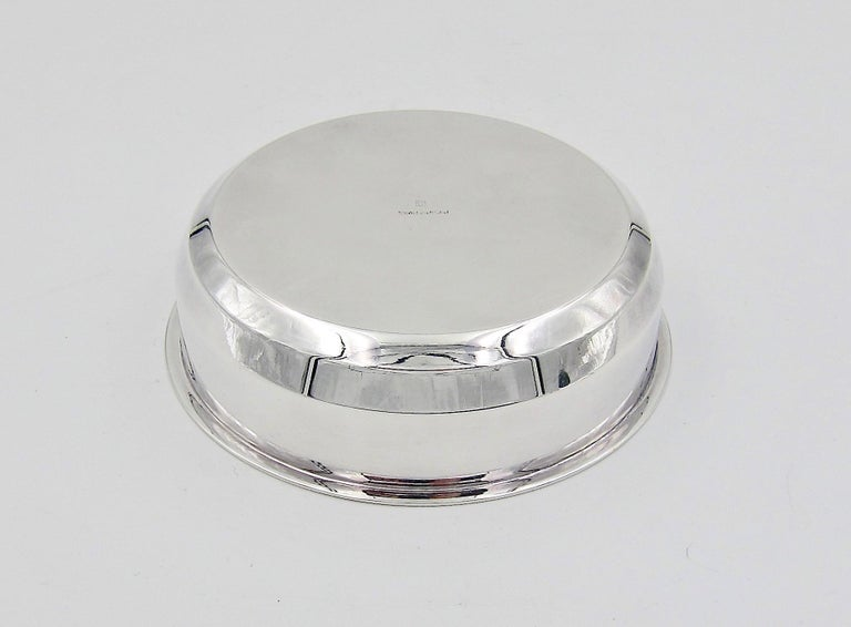 Puiforcat French Art Deco Silver-Plate Bonbonniere Box with Green Enamel Finial For Sale 7