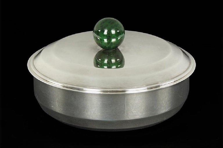 Puiforcat French Art Deco Silver-Plate Bonbonniere Box with Green Enamel Finial For Sale 9