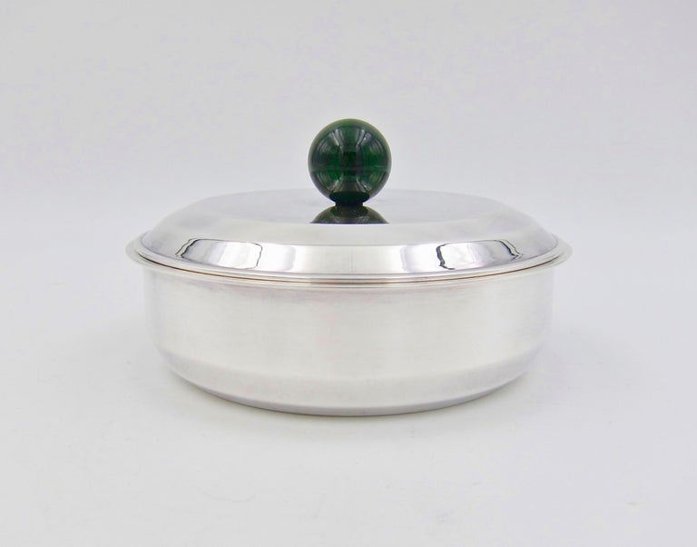 Puiforcat French Art Deco Silver-Plate Bonbonniere Box with Green Enamel Finial In Good Condition For Sale In Los Angeles, CA