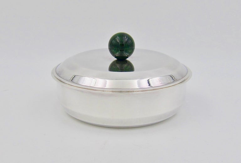 Mid-20th Century Puiforcat French Art Deco Silver-Plate Bonbonniere Box with Green Enamel Finial For Sale