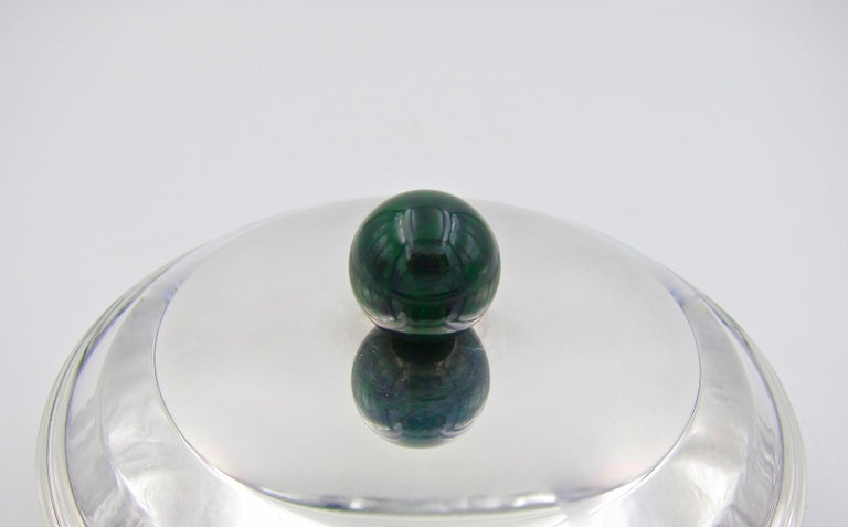 Silver Plate Puiforcat French Art Deco Silver-Plate Bonbonniere Box with Green Enamel Finial For Sale