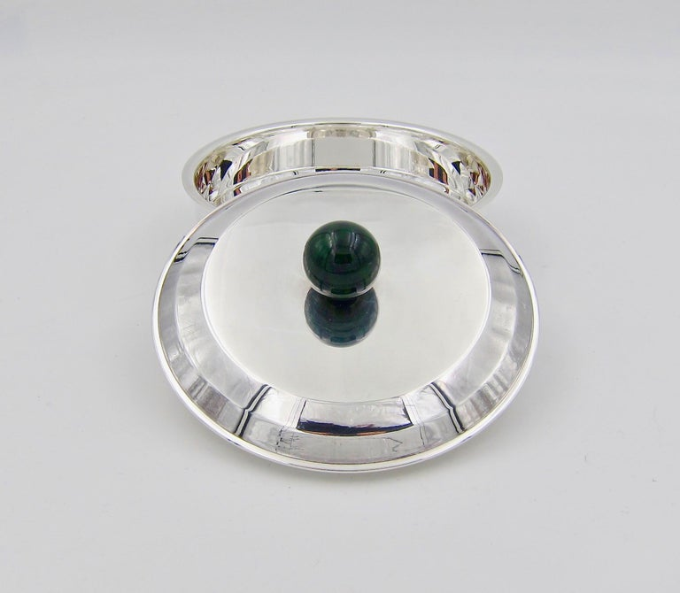 Puiforcat French Art Deco Silver-Plate Bonbonniere Box with Green Enamel Finial For Sale 1