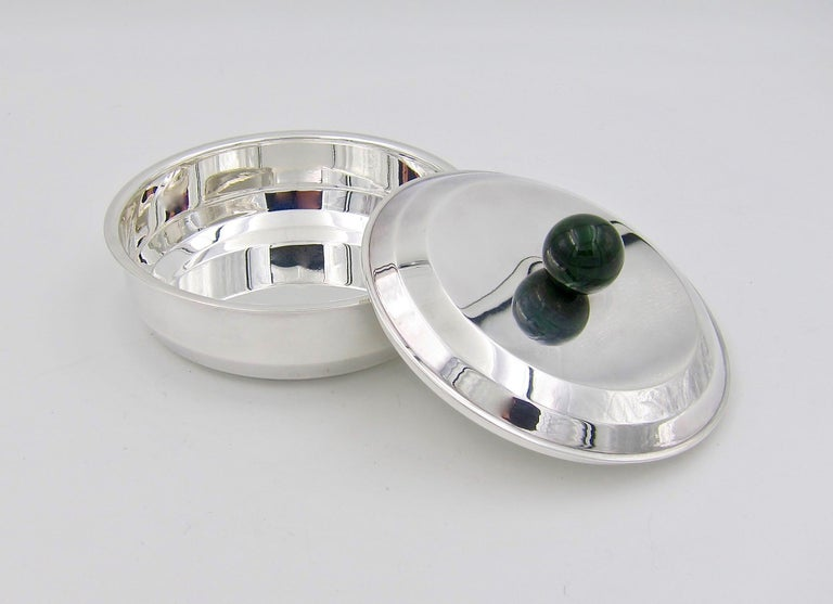 Puiforcat French Art Deco Silver-Plate Bonbonniere Box with Green Enamel Finial For Sale 2