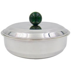 Puiforcat French Art Deco Silver-Plate Bonbonniere Box with Green Enamel Finial